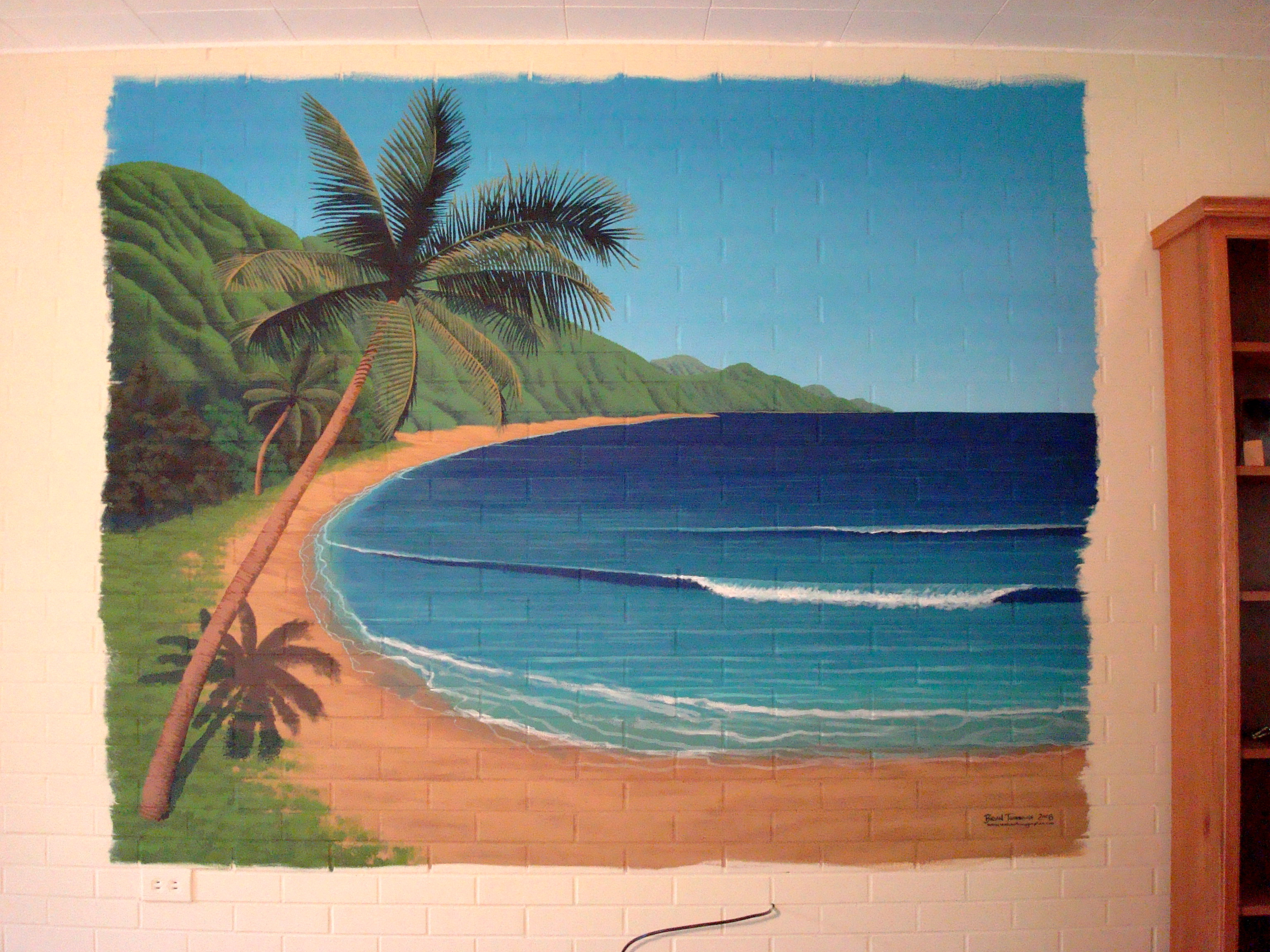 Hawaiian beach mural for Beach mural painting