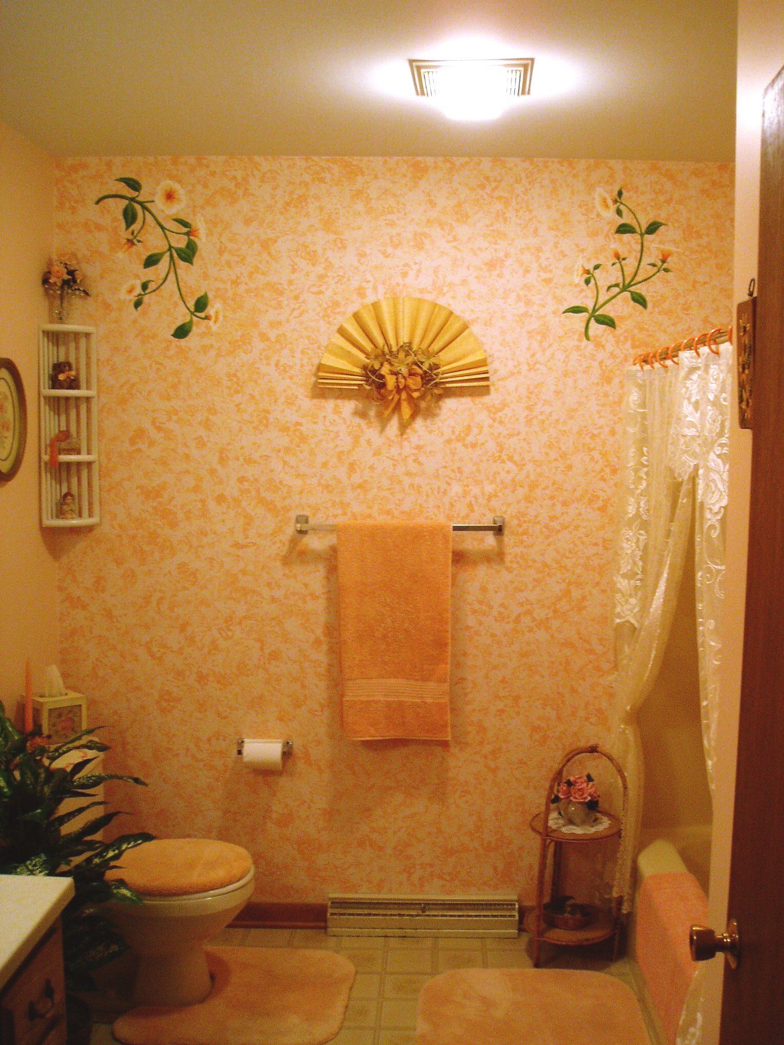 Peach floral bathroom Peach bathroom