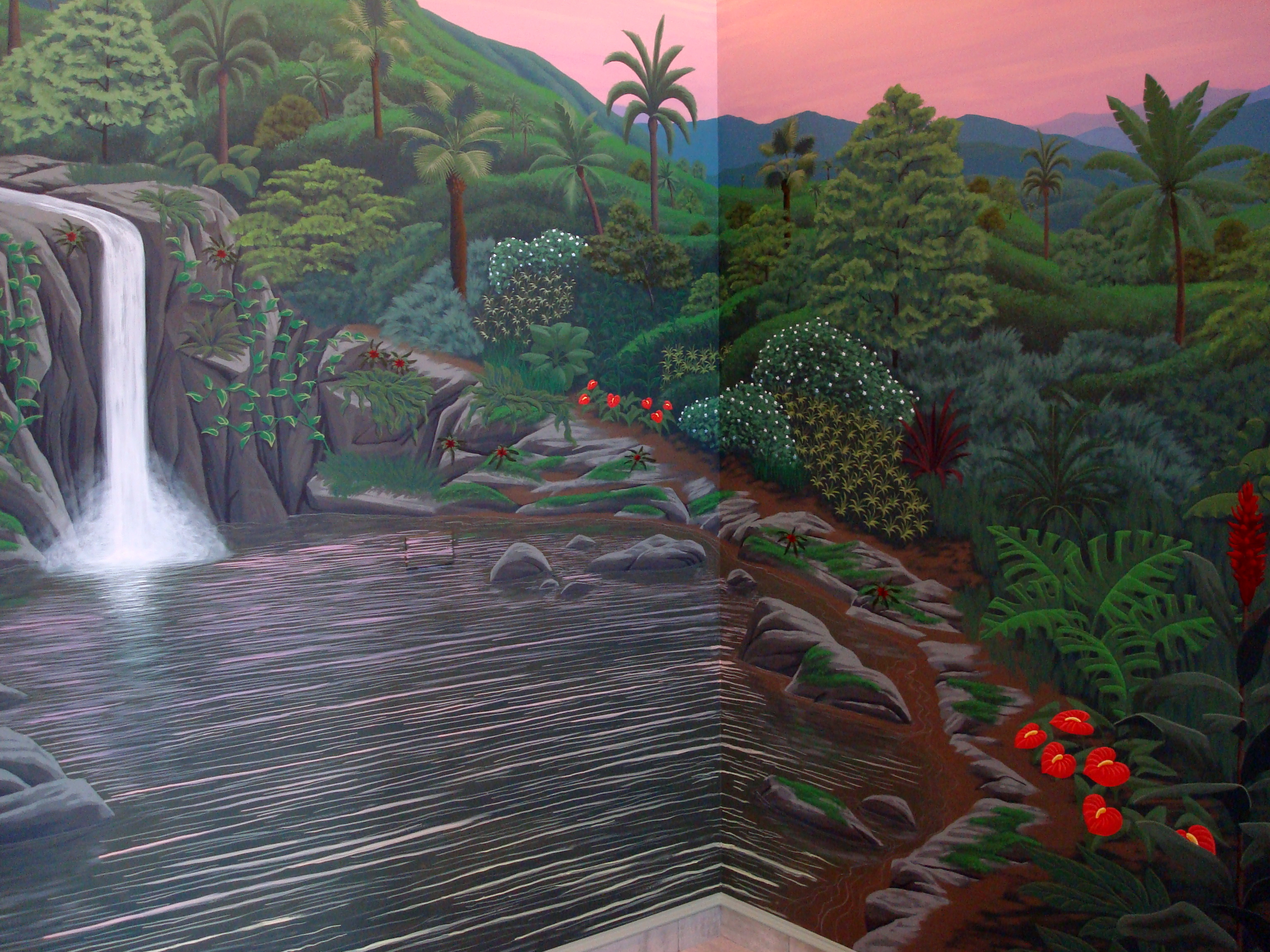 Tropical cove mural for Dark side of the moon mural