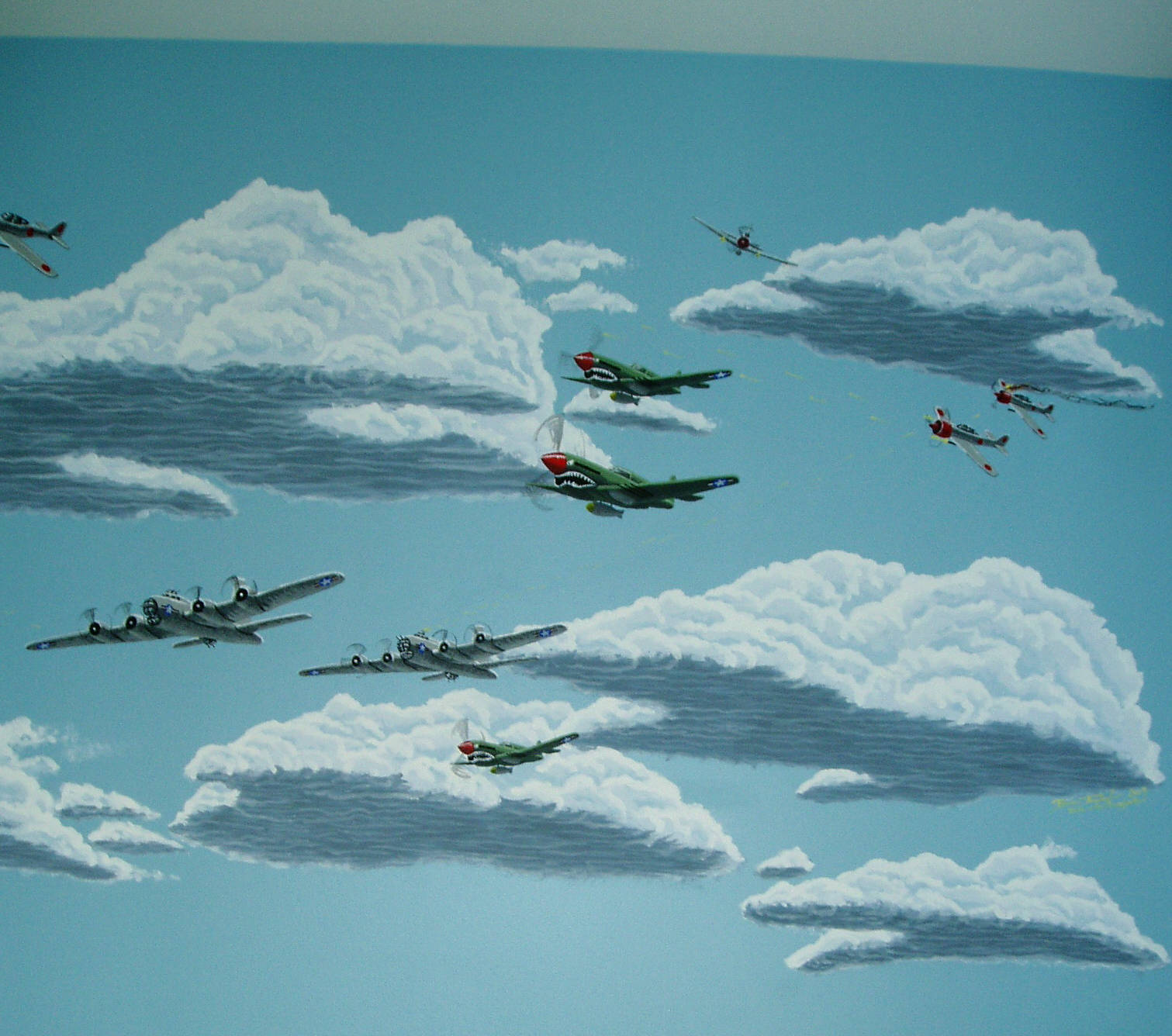 World War Ii Dogfight Mural