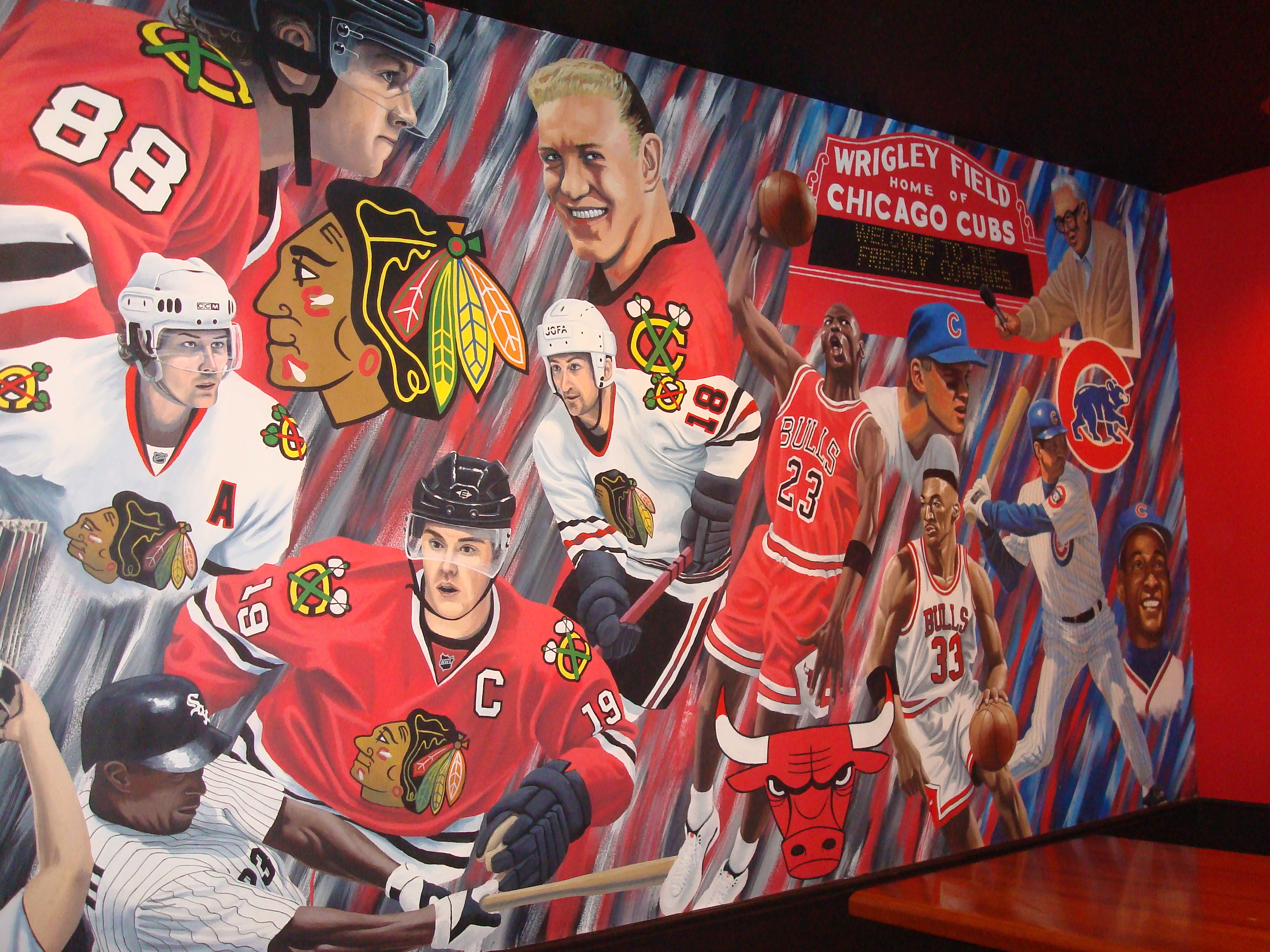 Chicago sports legends mural for Blackhawks mural chicago